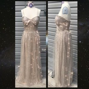Nude sparkly sequin prom dress 👗